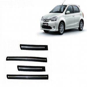 Car Door Side Beading - Etios Liva Chrome Line with 3M Adhesive Tape, Colour: Matte Black(Set of 4)