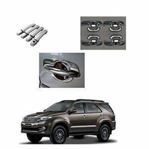AUTO ATTIRE Premium Quality Fortuner OLD  Finger Guard with Door Handle Chrome Cover COMBO for Set of 8 Pcs.