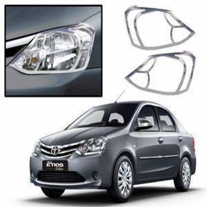AUTO ATTIRE Premium Quality Etios Chrome Plated Head Light Cover Garnish (02 Pcs)