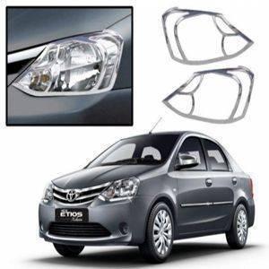 AUTO ATTIRE Premium Quality Etios Chrome Plated Head Light Cover Garnish (02 Pcs)