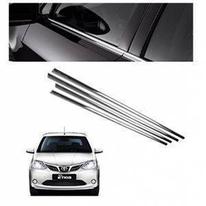 AUTO ATTIRE Premium Quality Etios Chrome Plated Window Garnish / Lower Garnish / Half Door Garnish (04 Pcs)