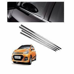 AUTO ATTIRE Premium Quality i10 Grand Chrome Plated Window Garnish / Half Door Garnish / Lower Garnish (04 Pcs)
