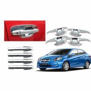 AUTO ATTIRE Premium Quality AMAZE Chrome Plated Chrome Handle + Finger Bowl Guard Cover  (08 Pcs)