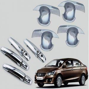 AUTO ATTIRE Premium Quality CIAZ Chrome Plated Handle Bowl / Finger Bowl Guard (08 Pcs) (With Sensor)