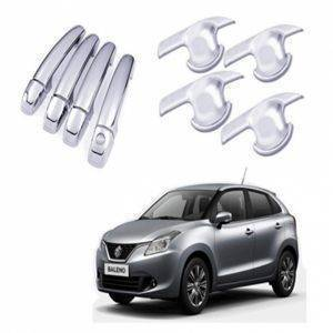 AUTO ATTIRE Premium Quality BALENO Chrome Plated Handle cover + Handle Bowl Finger Guard Combo (Without Sensor) 8 Pcs