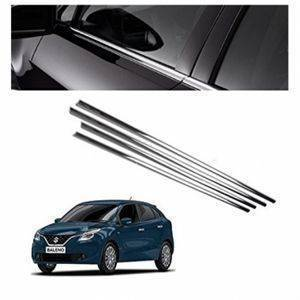 AUTO ATTIRE Premium Quality BALENO Chrome Plated Window Garnish / Lower Garnish / Half Door Garnish (04 Pcs)