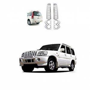 AUTO ATTIRE Premium Quality SCORPIO Chrome Plated Tail Light Cover Garnish (2009-2013) 02 Pcs