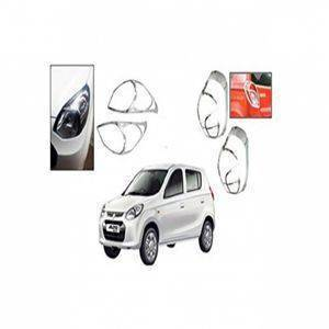 AUTO ATTIRE Premium Quality Alto 800 Chrome Plated Head Light  and Tail Garnish Cover Garnish Combo (04 Pcs)