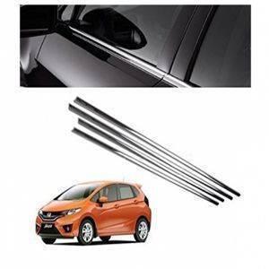 AUTO ATTIRE Premium Quality JAZZ Chrome Plated Window Garnish / Half Door Garnish / Lower Garnish (04 Pcs)