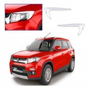 AUTO ATTIRE Premium Quality Brezza  Chrome Plated Head Light Cover Garnish (02 Pcs)