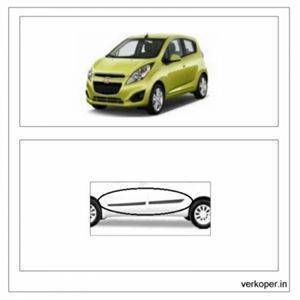 Car Door Side Beading - CHEVROLET Spark Material: High Grade Polypropylene (PP) Thermoplastic with 3M Adhesive Tape, Colour: Matte Bla