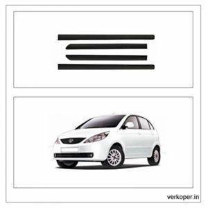 Car Door Side Beading - TATA Indica Vista Chrome Line with 3M Adhesive Tape, Colour: Matte Black(Set of 4)