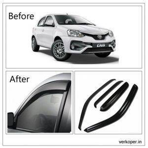 UNBREAKABLE Car Rain Visor/ Car Wind Visor/ Car Door Visor/ Window Deflector Toyota Etios Liva (4 Pcs) Free Gift Inside