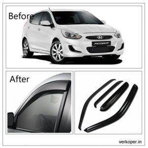 UNBREAKABLE Car Rain Visor/ Car Wind Visor/ Car Door Visor/ Side Window Deflector Hyundai Accent (4 Pcs) Free Gift Inside