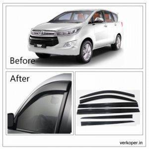 UNBREAKABLE Car Rain Visor/ Car Wind Visor/ Car Door Visor/ Window Deflector Toyota Innova Crysta (6 Pcs) Free Gift Inside