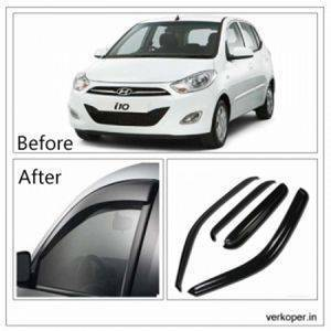 UNBREAKABLE Car Rain Visor/ Car Wind Visor/ Car Door Visor/ Side Window Deflector Hyundai i10 (4 Pcs) Free Gift Inside