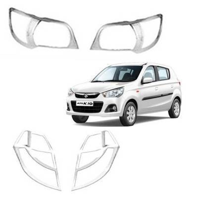 AUTO ATTIRE Premium Quality Alto K10 New Chrome Plated Head Light  and Tail Garnish Cover Garnish Combo