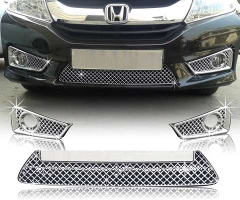 AUTO ATTIRE Premium Quality Chrome Plated Front Grill (2014-2017) 03 Pcs for HONDA CITY IDTEC - Front Radiator Grill