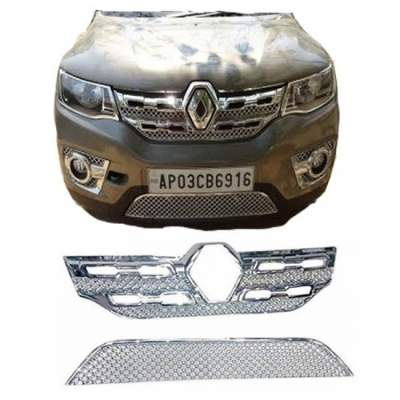 AUTO ATTIRE Premium Quality Chrome Plated Front Grill for Kwid - Front Radiator Grill