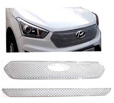 AUTO ATTIRE Premium Quality Chrome Plated Front Grill Bentley Type (02 Pcs) for CRETA - Front Radiator Grill