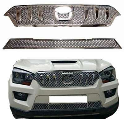 AUTO ATTIRE Premium Quality Chrome Plated Front Grill (02 Pcs) for SCORPIO 2014 - Front Radiator Grill