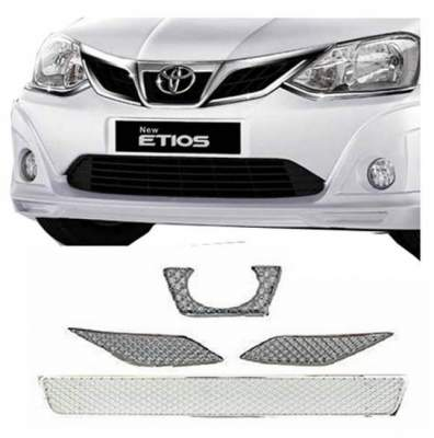 AUTO ATTIRE Premium Quality Chrome Plated Front Grill (Upper + Lower) 2016- Present for Etios - Front Radiator Grill