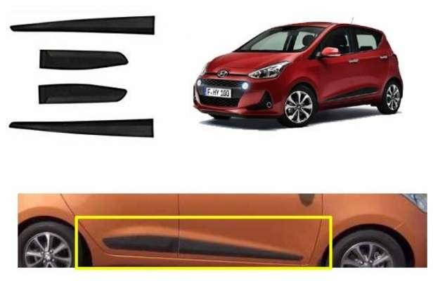 Car Door Side Beading for i10 Grand - Side moulding - Matte Black Set of 4