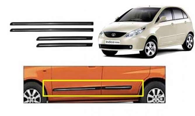 Car Door Side Beading for Indica Vista - Side moulding - Matte Black(Set of 4)