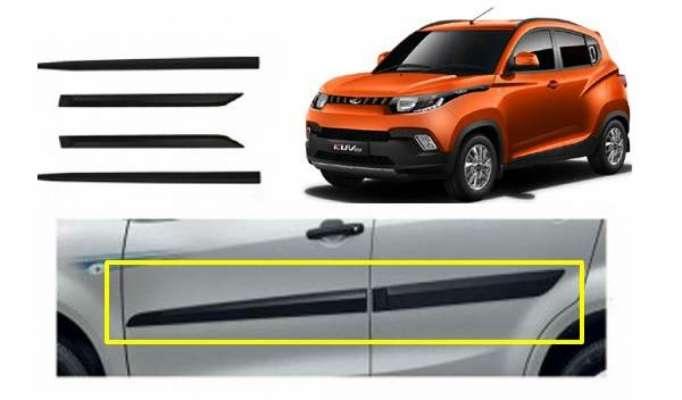 Car Door Side Beading for KUV-100 - Side moulding - Colour: Matte Bl