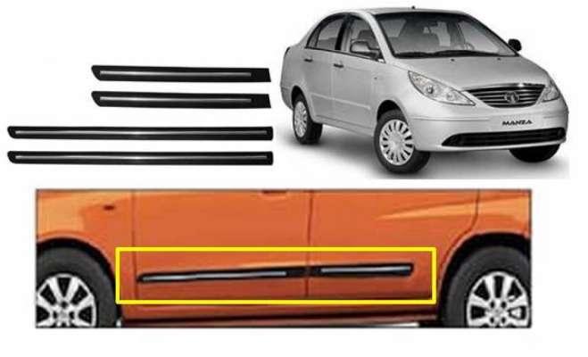 Car Door Side Beading for Manza - Side moulding - Colour: Matte Black(Set of 4)