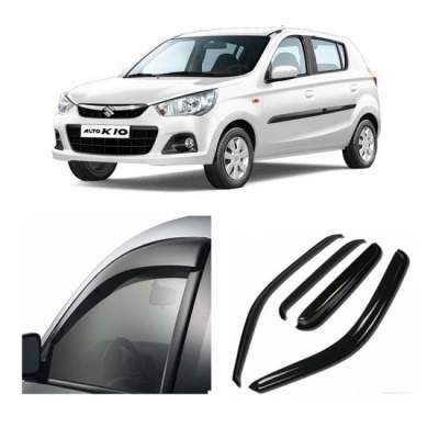 UNBREAKABLE Car Rain Visor/ Car Wind Visor/ Car Door Visor/ Side Window Deflector Maruti Alto New K10 (Set of 4) Free Gift