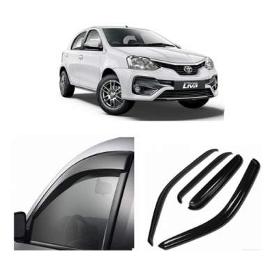 UNBREAKABLE Car Rain Visor/ Car Wind Visor/ Car Door Visor/ Window Deflector Toyota Etios Liva (4 Pcs)