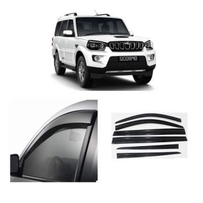 UNBREAKABLE Car Rain Visor/ Car Wind Visor/ Car Door Visor/ Window Deflector Mahindra Scorpio (6 Pcs)