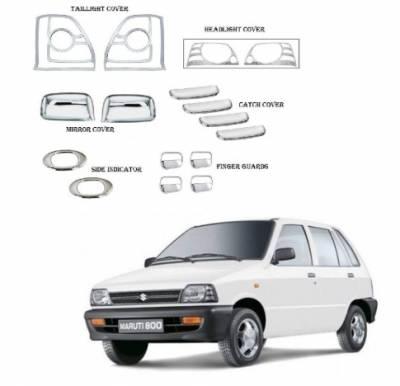 Car Chrome Combo Kit for Maruti 800 (Set of 8 items)