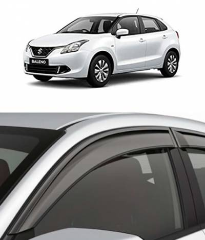 Door Visor for Maruti Suzuki Baleno / Car Rain Visor/ Car Rain Guard (Model: 2014 to Last Model) (Set of 4)