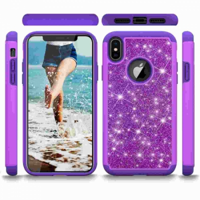 Apple iPhone XS Max Glitter Shockproof Bumper Case Cover