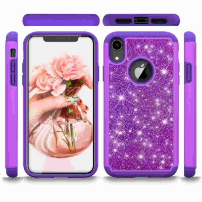 Apple iPhone XR Glitter Shockproof Bumper Case Cover