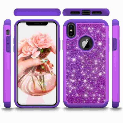 Apple iPhone XS / X Glitter Shockproof Bumper Case Cover