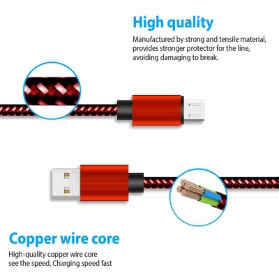 3 FT Fabric Micro USB Charging Data Transfer Cord Cabels